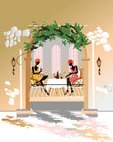 Chatting girls in the cafe Royalty Free Stock Photo