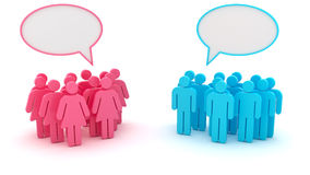 Chatting groups. Of men and women isolated on the white background Royalty Free Stock Image