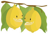 Chatting Lemons. Two lemons are chatting with each other. They are not so acid Royalty Free Stock Image