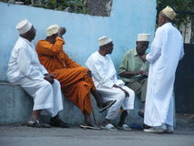 Chatting men - Comoros Islands royalty free stock photography