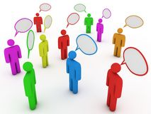 Chatting people with speech bubbles. Group of chatting people. Computer render Royalty Free Stock Image