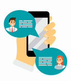 Chatting on phone via application, online conversation in internet. Messaging using mobile phone, flat vector. Illustration. Social network. Hand holds cell stock illustration