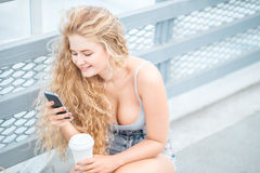 Chatting and surfing. Royalty Free Stock Photography
