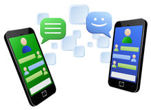 Chatting through touch screen smartphones Stock Photo