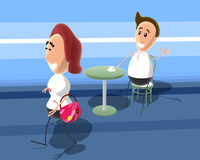 Chatting up. A 3D generated toon picture Royalty Free Stock Image