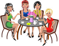 Chatting Women Sitting Table Coffee Tea Isolated vector illustration