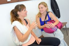 Chatting after a workout royalty free stock images