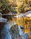 Chattooga lös och scenisk flod med höstfärg arkivbilder