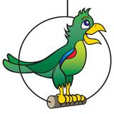 Chatty Cartoon Parrot. A chatty cartoon parrot is standing on his perch and talking Royalty Free Stock Photography