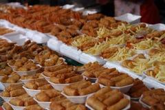 Chatuchak市场,曼谷油煎了食物 免版税库存图片