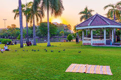 Chatuchak park lakeside area during sunset stock images