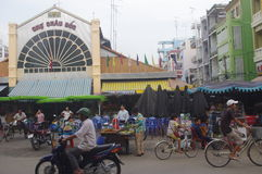 Chau Doc. Is city in Vietnam bordering Cambodia in the Mekong delta. It is likeable little town with significant Chinese, Cham and Khmer communities stock photo