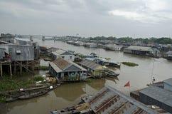 Chau Doc som svävar byn Arkivbilder