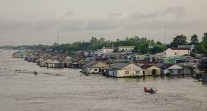 Floating houses in Chau Doc, Vietnam. Chau Doc, Vietnam - Sep 1, 2017. Floating houses on Mekong River in Chau Doc, Vietnam. Chau Doc is a city in the heart of Royalty Free Stock Image