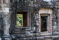 Chau say tevoda. Bas-reliefs, door and window of the prasat of the temple of chau say tevoda in siam reap, cambodia Royalty Free Stock Photography