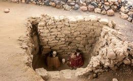 Chauchilla behandla som ett barn den forntida kyrkogården i Peru, mamman Royaltyfri Fotografi