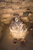 Chauchilla Cemetery with prehispanic mummies in Nazca desert, Pe Stock Images