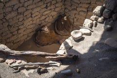 Chauchilla Cemetery with prehispanic mummies, Nazca desert, Peru Royalty Free Stock Photos