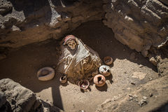 Chauchilla Cemetery with prehispanic mummies in Nazca, Peru Royalty Free Stock Photos