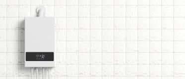 Chaudière de gaz à la maison, chauffe-eau sur le mur carrelé blanc illustration 3D illustration libre de droits