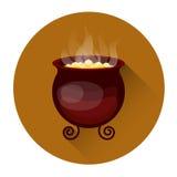 Chaudron avec l'icône de ébullition de vacances de Halloween de breuvage magique illustration libre de droits