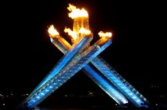 Chaudron de flamme de Jeux Olympiques de Vancouver Photographie stock libre de droits