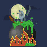 Chaudron de sorcières avec le breuvage magique Image stock