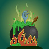 Chaudron de sorcières avec le breuvage magique Image libre de droits
