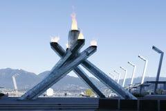 Chaudron Vancouver de flamme de Jeux Olympiques Images libres de droits