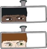 Chaufför Looking i spegel Arkivbild