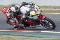 Chaufför Rodrigo Felipe Pisano Honda CBR250R Royaltyfri Foto