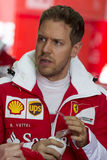 Chaufför Sebastian Vettel Team Ferrari arkivbild
