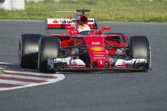 Chaufför Sebastian Vettel Team Ferrari Arkivbilder