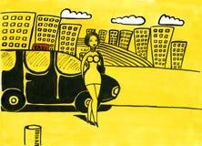 chauffören taxar kvinnan stock illustrationer