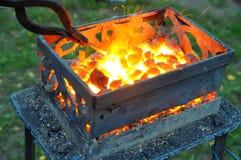 Chauffage de la pièce forgéee en métal sur les charbons chauds Photo libre de droits