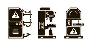 Chauffage de métal pour le traitement icônes de vecteur de noir illustration de vecteur