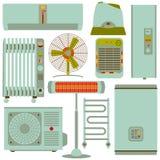 Chauffage, ventilation et icônes linéaires de traitement réglés Photos libres de droits