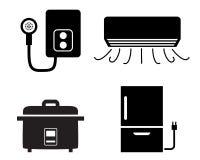 Chauffe-eau, climatiseur, icônes de cuiseur de riz illustration stock