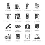 Chauffe-eau, thermostat, appareils de chauffage solaires de gaz électrique et d'autres icônes de glyph d'appareils de chauffage d illustration libre de droits