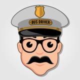 Chauffeur de bus Cartoon Face avec des verres illustration libre de droits