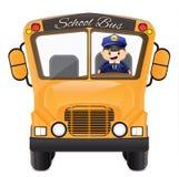 Chauffeur de bus conduisant son autobus illustration stock