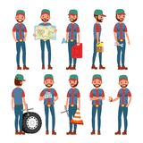Chauffeur de camion Vector Homme professionnel de travailleur Illustration plate d'isolement de personnage de dessin animé illustration libre de droits
