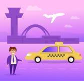 Chauffeur de taxi au vecteur d'aéroport cartoon Art d'isolement sur le fond blanc illustration stock