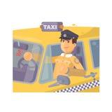 Chauffeur de taxi se reposant dans l'illustration plate de voiture Photos libres de droits