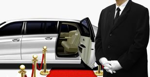 Chauffeur standing by the white limousine Royalty Free Stock Photo