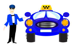 Chauffeur taxi on white background Stock Images