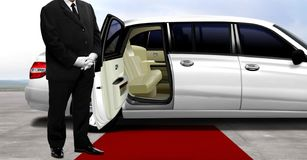 Chauffeur waiting for passenger. At airport runway Royalty Free Stock Image