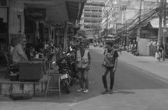 Chauffeurs de taxi Thaïlande de moto de Steet Photos stock