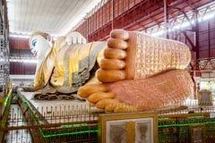 最知名的缅甸斜倚的菩萨图象Chauk Htat Gyee 免版税库存图片