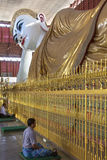Chauk Htat Gyi Reclining Buddha - Yangon - Myanmar Royalty Free Stock Photo